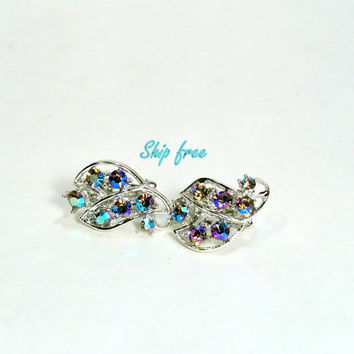 Blue Rhinestone Earrings Aurora Borealis Rhinestone Clip On Earrings Sparkly Vintage Earrings Gift Idea Ship Free