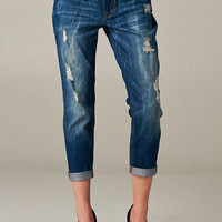 Boyfriend Jeans - Medium Wash/Medium Distressed