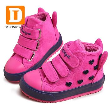 Winter Rubber Girls Boots New 4 Colors Fashion Warm Children Shoes Girls Flock Leather Plush Platform Flat Sneakers Kids Boots