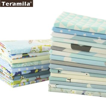 Teramila Cotton Fabric Precut 25 Designs Blue Quilting Tissue Textile Fat Quarter Charm Packs Meter Bedding Sewing Patchwork