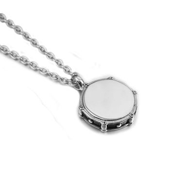 Fashion Music Men Jazz Band Drum Drummers Stainless Steel Necklace Pendant