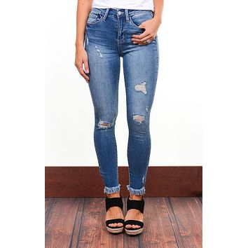 Heidi High Rise Frayed Skinny Jeans