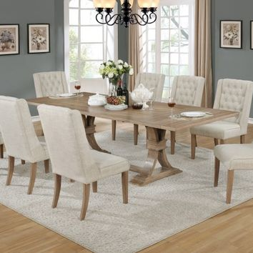 Best Quality BM-D37-9PC 9 pc Sania II collection antique natural finish wood rustic style dining table set with tufted chairs