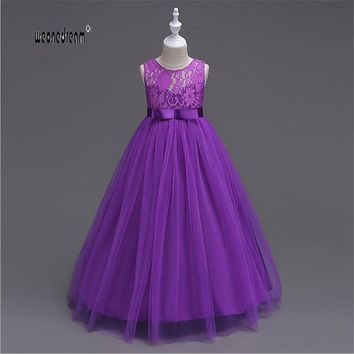 Flower Princess Girl Dress Lace up Prom Party Birthday Baby  floor length purple navy white Kids Dress Children Elegant 2017