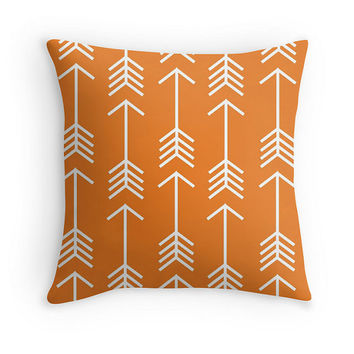 Orange Arrow Throw Pillow Cover