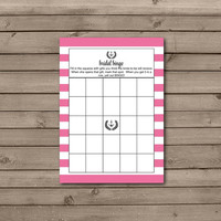 Pink Anchor Bridal Shower Bingo Cards: INSTANT DOWNLOAD or choose your color