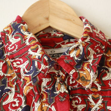 Red Hermes Style Pattern Shirt Womens Medium