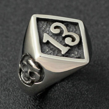 Men's Lucky No. 13 316L Stainless Steel Skull Biker Ring Gothic Punk Motorcycle