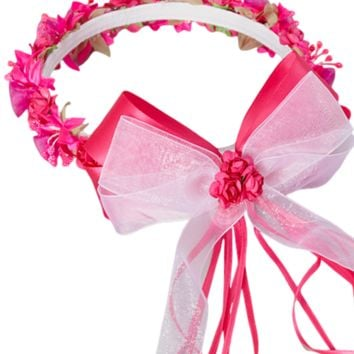 Fuchsia Pink Floral Crown Wreath Handmade with Silk Flowers, Satin Ribbons & Bows (Girls)