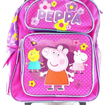 "Peppa Pig 12"" Canvas Pink School Rolling Backpack"