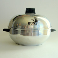Vintage Aluminum Bun Warmer, West Bend Serving Oven, Retro Kitchen 1950s Midcentury Mid Century Modern, Bread Steamer
