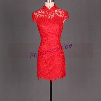 2014 short red lace prom dresses,Chinese cheongsam bridesmaid dress hot,cheap vintage gowns for homecoming party.