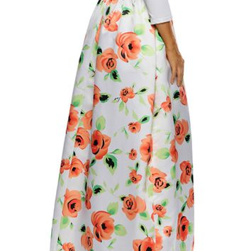 Charming Pocket Floral Printed Flared Plus Size Skirt