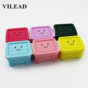 VILEAD Creative 1 Pc Candy Color Emoji Mini Lock Storage Box Jewelry Pill Jar Accessories Organizing Box