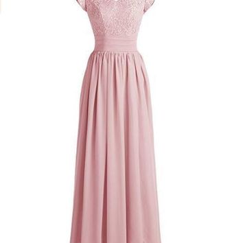 Ubridal Women's Lace Bridesmaid Dress Chiffon Prom Party Gowns Short Sleeves