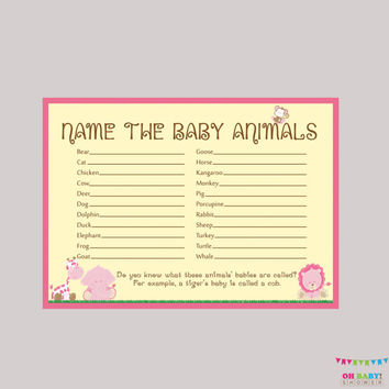 Pink Baby Animals Name Game Baby Shower Printable Safari Girl Baby Shower - Printable Instant Download - Safari Baby Shower Game - BS0001-P