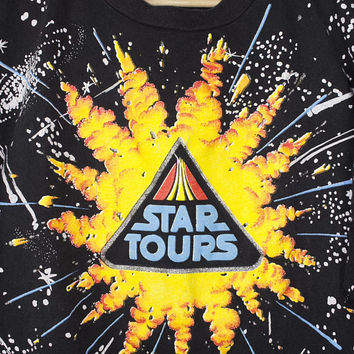 80s STAR TOURS all over print shirt - vintage 1980s - disneyland - star wars - disney