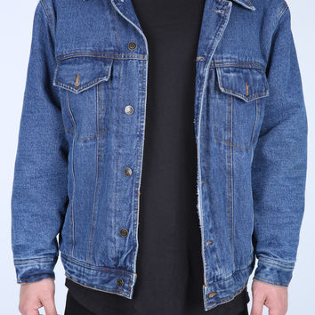The Docks Wool Lined Denim Jacket in Vintage