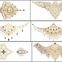 6 Sheets Premium Metallic Tattoos Body Temporary Breast Back Waterproof Multicolor Tattoos - Temporary Fake Jewelry Tattoos - Rose Butterfly Skull Heart Wing Flower Star Body Tattoos (Style2)