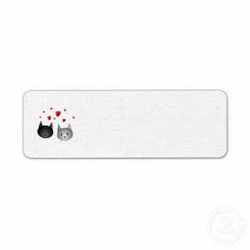 Cute Black and Gray Cats, with Hearts. Custom Return Address Label from Zazzle.com