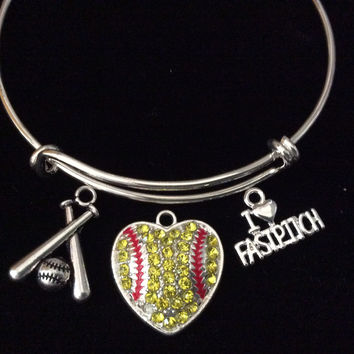 Fast Pitch Crystal Heart Softball Bats Silver Expandable Charm Bracelet Sports Team Coach Gift Adjustable Bangle