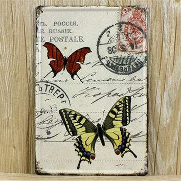 Floral Butterfly Puppy postcard picture Wall Stickers Decor Iron Retro Tin Metal Signs Plaques 20X30CM A1386
