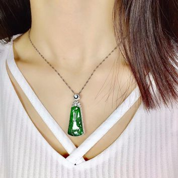 Fine Jewelry Real 18K White Gold Natural Green Jade Geometric Pendant Necklace Fine Pendants