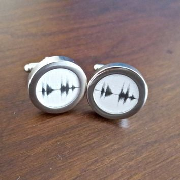 Sound Wave Cufflinks - Your voice recording
