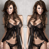 On Sale Hot Deal Cute Sexy Lace Sleepwear Spaghetti Strap Dress Set Exotic Lingerie [6595907011]