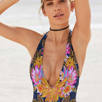 Out From Under Plunging V Printed One-Piece Swimsuit - Urban Outfitters