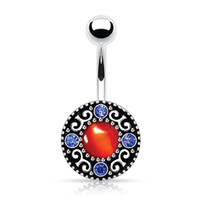 BodyJ4You  Vintage Shield Gem Belly Button Ring