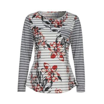 womenlong sleeve button back printing floral tops blouse t shirt