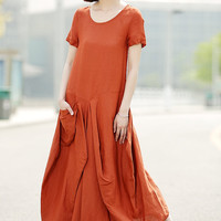 Orange Linen Dress - Womens Linen Clothing Casual Everyday Comfortable Plus Size Summer Fashion Basic Wardrobe Staple C351