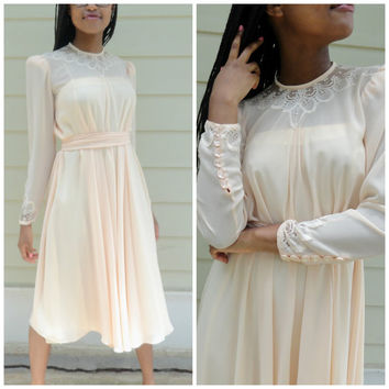 Vintage Peach Albert Nipon Flowy Tea-Length Dress / 70s Evening Cocktail Dress /Court House Wedding Dress