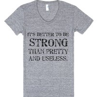 Strong-Female Athletic Grey T-Shirt