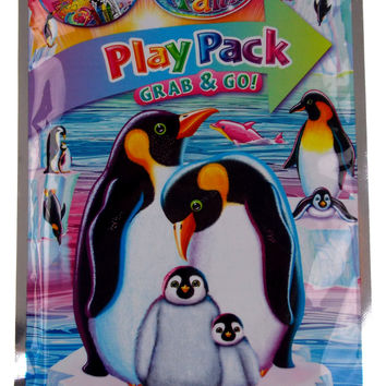 Lot 3 Lisa Frank Penguins Play Pack Grab & Go Coloring Book Crayons Stickers