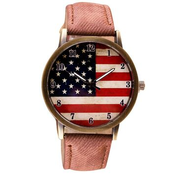 Fashion Womens Watches Casual Flag Watch Women Pu Leather Wrist Watch Quartz-Watch Relogio Feminino 2017 #23