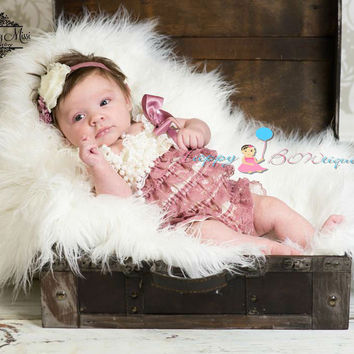 Baby Girl coming home outfit, Dusty Ivory Rose Lace Romper
