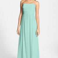 Donna Morgan 'Stephanie' Strapless Ruched Chiffon Gown (Regular & Plus Size)