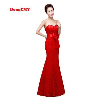 Zipper style New 2017 Red color Plus size Robe de soiree Lace Women's Mermaid evening dress