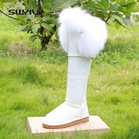 Real Fox Fur Snow Boots Women Waterproof 2017 Flat Winter Shoes Knee High Boots Women Guneine Leather Warm Shoes Large Size 40