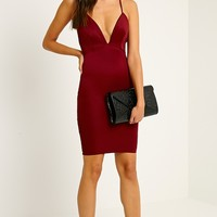 Nada Burgundy Plunge Cross Back Midi Dress - Dresses - PrettylittleThing | PrettyLittleThing.com
