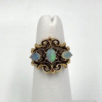 Vintage 14k Yellow Gold Australian Opal Ring 5 size