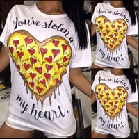 Heart Shaped Pizza Print Short Sleeve T-Shirt
