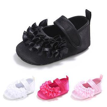 Baby Girls Casual Shoes Non-Slip Newborn Infant Baby Toddler handmade Flower Shoes Baby Girl