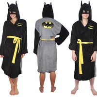 DC Comics Batman Adult Black Hooded Plush Costume Robe