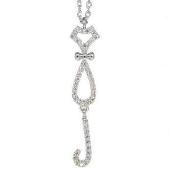 Dear Deer White Gold Plated Cat Pendant Necklace