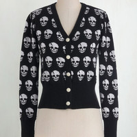 Steampunk Long Sleeve Button Down Skulls in Session Cardigan in Black