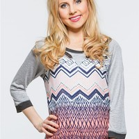 Jolt Chevron Ombre Baseball Top