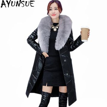 AYUNSUE Women's Down Jackets Warm Winter Coat Female Fur Collar Hooded Leather Jacket Slim Women's Fur Coat Jaqueta Couro WXF284